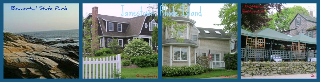 Jamestown RI real estate collage of homes and locations