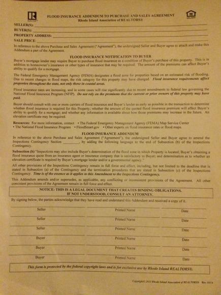 RI Real Estate Transactions Require Flood Insurance Addendum